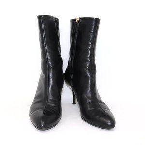 GUCCI 38 Leather Ankle Zip Heel Bootie Zip Up
